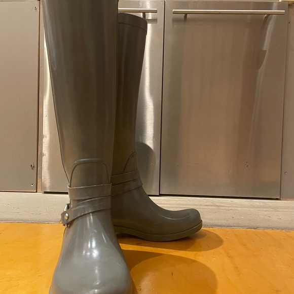 Coach grey riding rain boots (knee high)